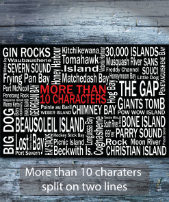 Personalized Canvas Print | Georgian Bay Destinations | Giants Tomb Trading Co - More than 10 Characters