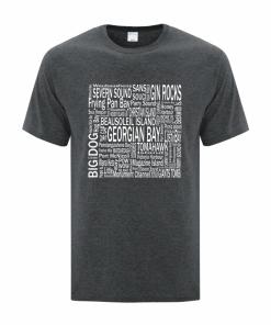Men's T-Shirt | Active Blend | Dark Heather | Logo: Georgian Bay Destinations - Front