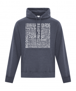Hoodie | Unisex | Active Blend | Heather Navy | Logo: Georgian Bay Destinations