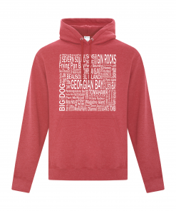 Hoodie | Unisex | Active Blend | Heather Red | Logo: Georgian Bay Destinations