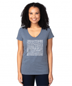 Women's V-Neck | Heather Navy | Logo: Georgian Bay Destinations- Front